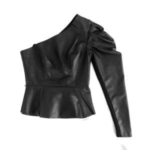 BCBG One-Shoulder Peplum Leather Top (XS)